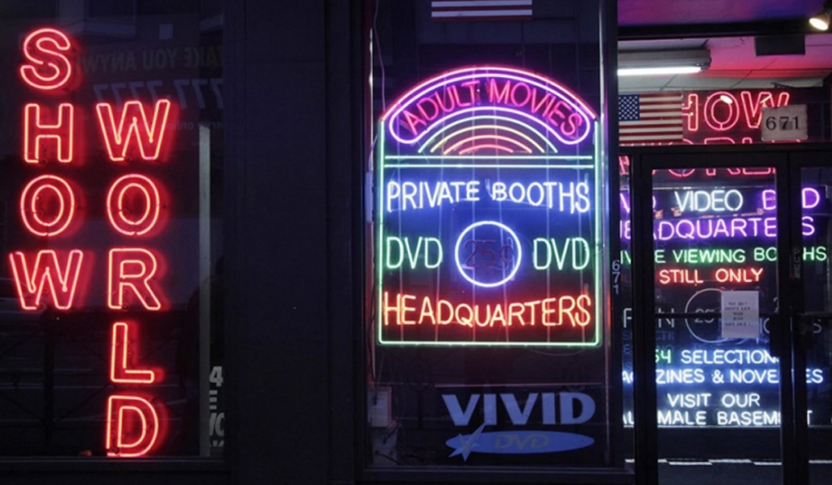Neon sign for porn films